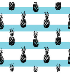Pineapple silhouettes pattern on striped vector