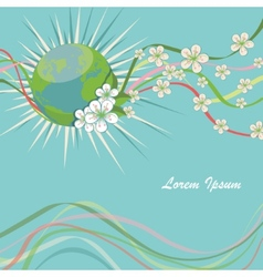 Planet earth with spring flowers and curly ribbons vector image