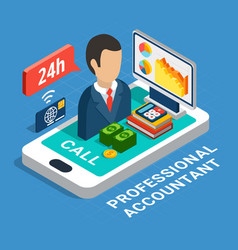 Professional accountant isometric composition vector