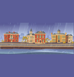 Rain and wind in town with european buildings vector