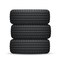 realistic car wheel tyre vector image