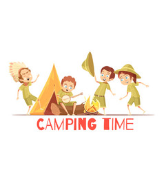 Scouts camping retro cartoon poster vector