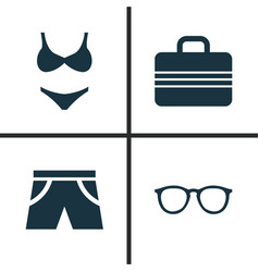 Season icons set collection of spectacles bikini vector