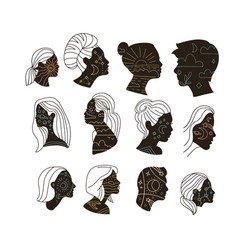 set abstract portrait womem and men with vector image