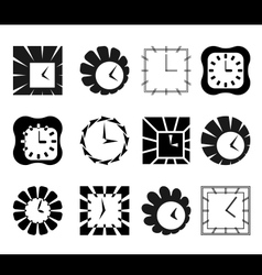 Set of graphic abstract clock symbols vector image