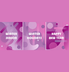 set of winter backgrounds with gradients vector image