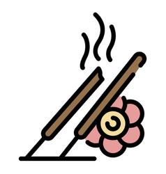 Smoke sticks icon color outline vector