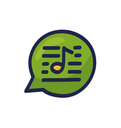 speech chat bubble musical note hand drawn vector image