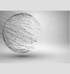 sphere with connected lines and dots wireframe vector image