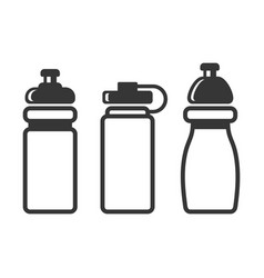 sports water bottles set on white background vector image