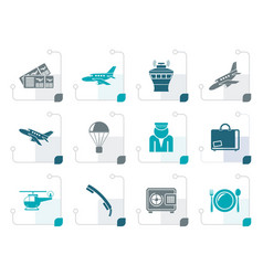Stylized airport and travel icons vector