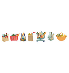 Supermarket or market food in basket and paper bag vector