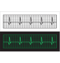 tape cardiogram two versions of color and black vector image