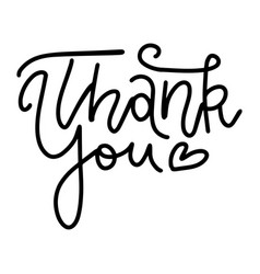 thank you - linear handwritten text with vector image