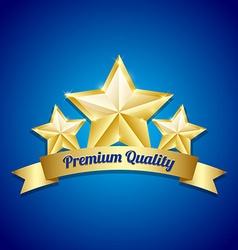 Three golden stars symbol vector image