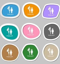 toilet icon symbols Multicolored paper stickers vector image