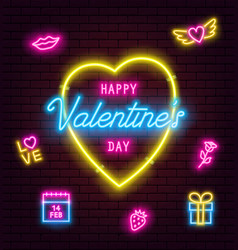 valentines day neon sign on brick wall background vector image