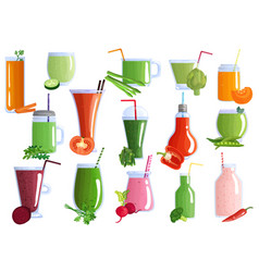 Vegetable smoothies set vector