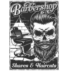 Vintage barbershop poster with barber chair and vector image