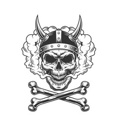 vintage viking skull wearing horned helmet vector image
