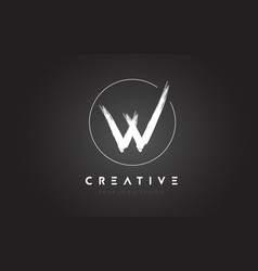 W brush letter logo design artistic handwritten vector