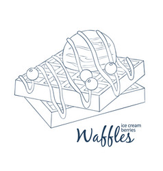 Waffles with ice cream and berries icon cartoon vector