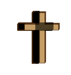white background of wooden cross with shadow vector image