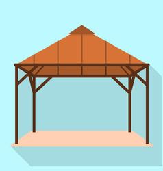 Wood gazebo icon flat style vector