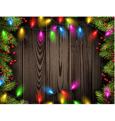 Wooden background with Christmas lights vector image vector image