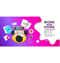 Work from home concept man sitting vector