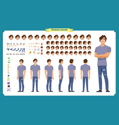 Young man in casual clothes character creation vector
