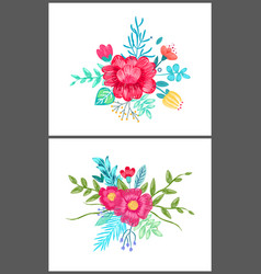 set of cute floral patterns on vector image vector image