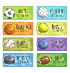 Team sport banners with balls vector image