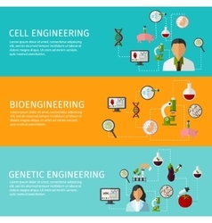 Three Biotechnology Banner Set vector image vector image