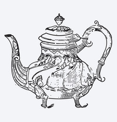 vintage tea pot engraving ephemeral vector image