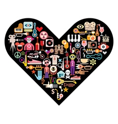 art collage on black heart vector image