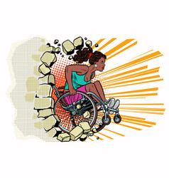 black woman athlete in a wheelchair punches the vector image vector image