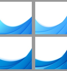 Blue business layered flyer backgrounds collection vector image vector image