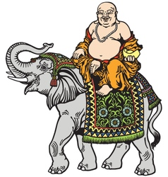 buddha and elephant vector image vector image