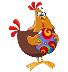 chicken with Easter egg vector image