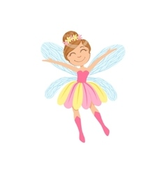 Cute Fairy In Pink And Yellow Dress Girly Cartoon vector image vector image