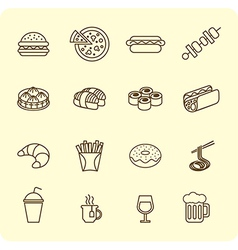 Fast food outline icon set vector image