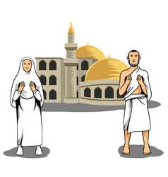 Hajj pilgrim praying in front of mosque vector
