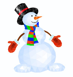 polygonal snowman in red mittens and striped scarf vector image