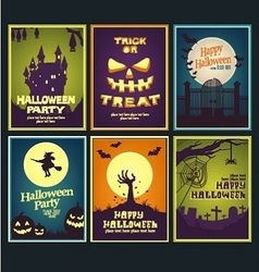 six halloween card collection vector image vector image