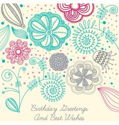 Vintage Floral Birthday Card vector image vector image