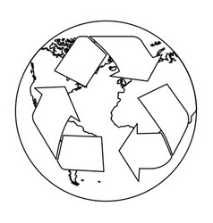 figure planet caring for the environment icon vector image