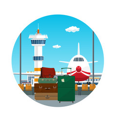 Icon luggage bags for traveling vector