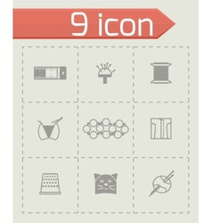 Needlywork icon set vector image vector image