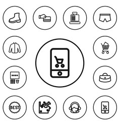 set of 12 editable trade outline icons includes vector image